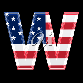 Royalty Free Clipart Image of an American Flag 'W'