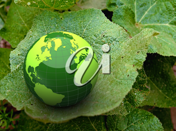 Royalty Free Clipart Image of The Earth on a Leaf