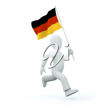 Royalty Free Clipart Image of a Man With a German Flag