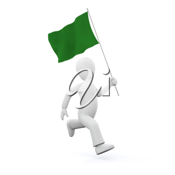 Royalty Free Clipart Image of a Man Holding Libyan's old Flag