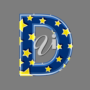 3d letter with star pattern - D