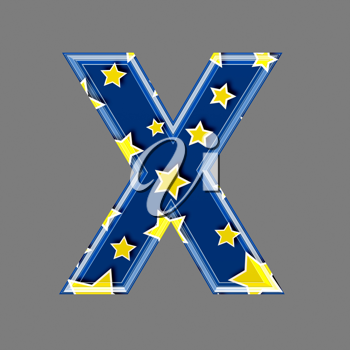 3d letter with star pattern - X