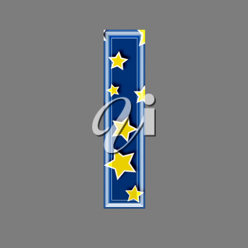 3d letter with star pattern - L