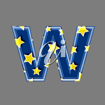 3d letter with star pattern - W
