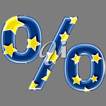 3d percent sign with star pattern