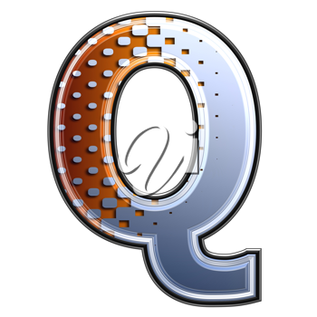 3d letter with abstract texture - q