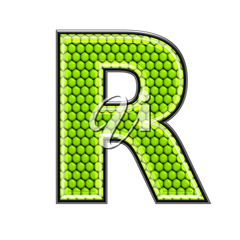 Abstract 3d letter with reptile skin texture - R