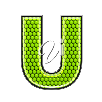Abstract 3d letter with reptile skin texture - U