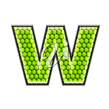 Abstract 3d letter with reptile skin texture - W