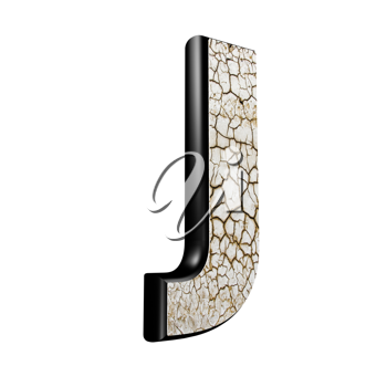 abstract 3d letter with dry ground texture - J