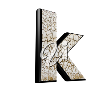 abstract 3d letter with dry ground texture - K