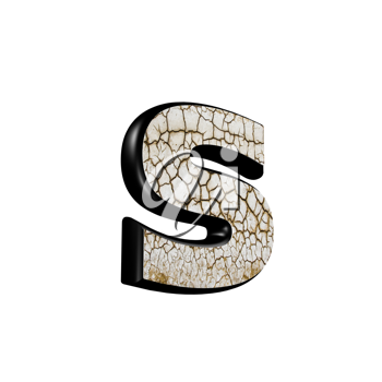abstract 3d letter with dry ground texture - S
