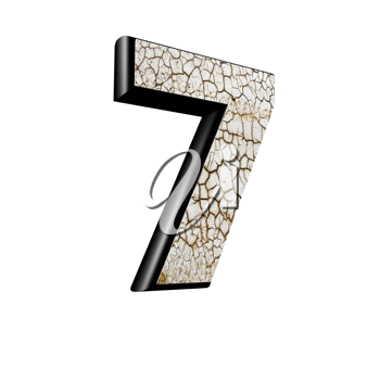abstract 3d digit with dry ground texture - 7