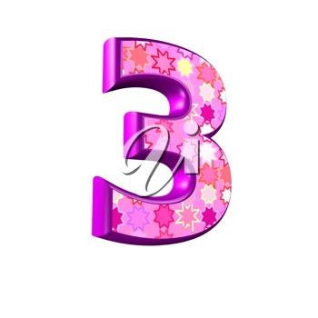 3d pink digit isolated on a white background - 3