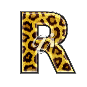 3d letter with panther skin texture - R