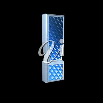 abstract 3d sign with blue pattern texture - exclamation point