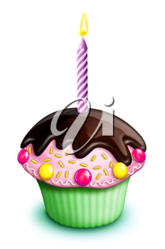 Royalty Free Clipart Image of a Cupcake and Candle