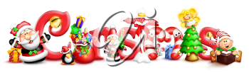 Royalty Free Clipart Image of a Christmas Element With Santa, a Tree and Elf