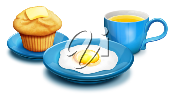 Royalty Free Clipart Image of a Coffee, Egg and Muffin