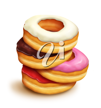 Royalty Free Clipart Image of a Pile of Doughnuts