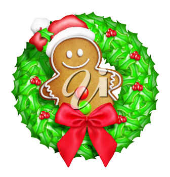 Royalty Free Clipart Image of a Gingerbread Wreath