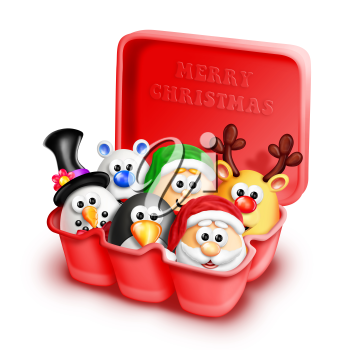 Royalty Free Clipart Image of an Egg Cartoon With Christmas Figurines