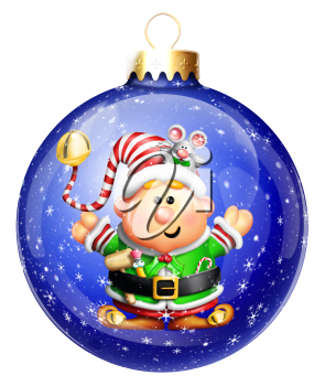 Royalty Free Clipart Image of an Elf in a Snow Globe