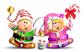 Royalty Free Clipart Image of Two Elves With a Mouse