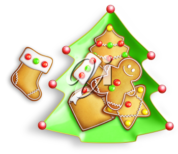 Royalty Free Clipart Image of a Christmas Tree Plate With Gingerbread Cookies