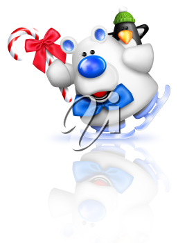 Royalty Free Clipart Image of a Skating Polar Bear and Penguin