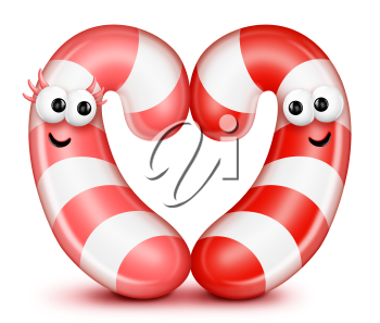 Royalty Free Clipart Image of Two Candy Canes Shaped Like a Heart
