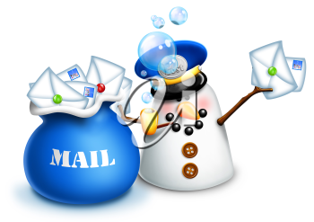 Royalty Free Clipart Image of a Snowman Mailman
