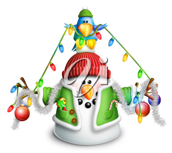 Royalty Free Clipart Image of a Snowman and Bluebird With Christmas Lights