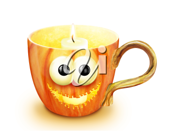 Royalty Free Clipart Image of a Cup With a Candle
