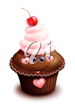 Royalty Free Clipart Image of a Cupcake with Cherry on Top