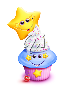 Royalty Free Clipart Image of a Cupcake With a Star