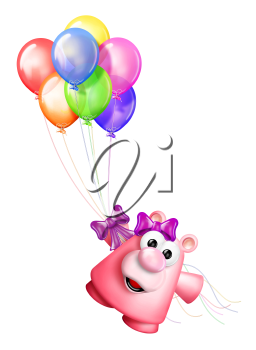 Royalty Free Clipart Image of a Bear With Balloons