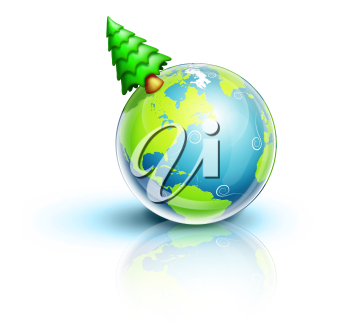 Royalty Free Clipart Image of a Tree on a Globe