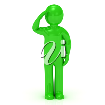 Royalty Free Clipart Image of a Saluting Green Man