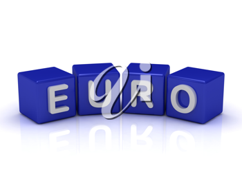 Royalty Free Clipart Image of Euro on Blocks