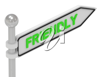 Royalty Free Clipart Image of an Arrow Sign With the Word Friendly