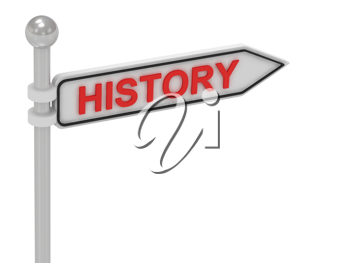 Royalty Free Clipart Image of an Arrow Sign With the Word History