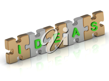 Royalty Free Clipart Image of a Jigsaw Puzzle With the Word Ideas