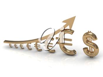 Royalty Free Clipart Image of Euros and an Arrow