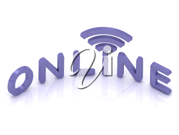 Royalty Free Clipart Image of the Word Online and Satellite Waves
