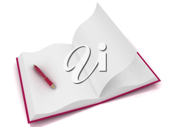 Royalty Free Clipart Image of a Book and Pen