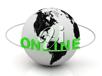 Royalty Free Clipart Image of a Planet With the Word Online