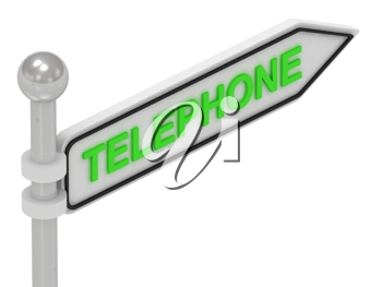 Royalty Free Clipart Image of an Arrow Sign With the Word Telephone