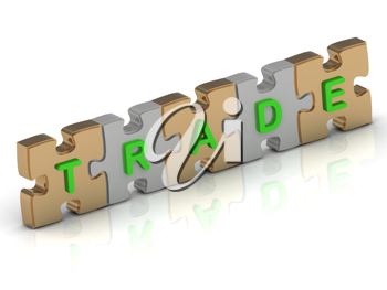 Royalty Free Clipart Image of a Jigsaw Puzzle With the Word Trade