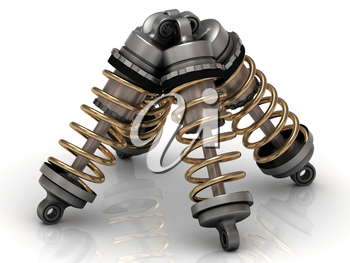 Four automotive shock absorber with gold springs
